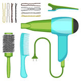Set of hairdressing tools vector illustration isolated on white background. Professional hairbrushes, hairdryer and bobby pins icons Royalty Free Stock Photography