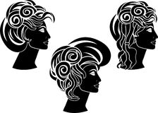 Set of hairstyles Royalty Free Stock Photography