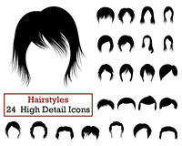 Set of 24 Hairstyles Icons Royalty Free Stock Images