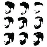 Set of hairstyles for men. Collection of black silhouettes of hairstyles and beards. Vector illustration for hairdresser Royalty Free Stock Photography