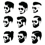 Set of hairstyles for men in glasses. Collection of black silhouettes of hairstyles and beards. Vector illustration for Stock Images