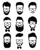 Set of hairstyles for men in glasses. Collection of black silhouettes of hairstyles and beards. Vector illustration for Stock Photo