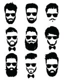 Set of hairstyles for men in glasses. Collection of black silhouettes of hairstyles and beards. Vector illustration for Royalty Free Stock Photography