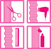 Set of hairstyling icon. Set of hairstyling tools icon on white background in frame royalty free illustration