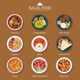 Set of halal food flat design Royalty Free Stock Photos