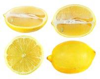 Set of half cut and whole lemon isolated on white background stock images