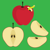 Set of Half and Slice Red Apple Stock Images