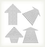 Set of Halftone Arrows Signs Royalty Free Stock Photo