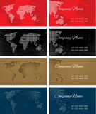 Set of halftone bussines cards with continents Royalty Free Stock Image