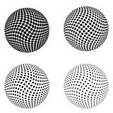 Set of Halftone circles isolated on the white background.Collection of halftone effect dot patterns.Sphere illustration.Abstract b Royalty Free Stock Images