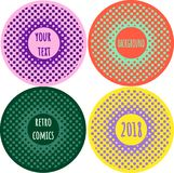 Set Halftone comics creative vector background with space for te. Xt. Contrast colors, red, cian, pink, violet, green, yellow Stock Image