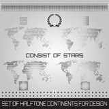 Set of halftone continents for design Stock Photos
