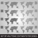 Set of halftone continents for design. Set of vector halftone continents for design Stock Photos