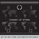 Set of halftone continents for design. Set of vector halftone continents for design Royalty Free Stock Photos