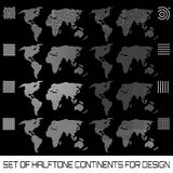 Set of halftone continents for design Stock Photo