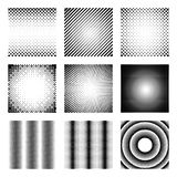 Set of halftone elements. Monochrome abstract patterns for DTP, prepress or generic concepts. Collection of retro backdrops. Vector illustration Royalty Free Stock Photos