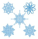 Set halftone snowflakes. Vector Stock Image