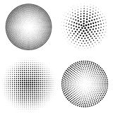 Set of halftone spheres. vector illustration Stock Photo