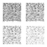 Set of Halftone squares isolated on the white background. Collection of halftone effect transformed dot patterns. Rectangle illust Stock Images