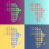 Set of halftone vector Africa map Royalty Free Stock Photography