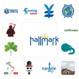 Set of hallmark, sierra, nargile, mister, made in italy, elephant, three leaf clover, commando, grim reaper icons. Set Of 13 simple editable icons such as Royalty Free Stock Images