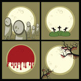 Set a Halloween. Set of icons (decorative elements). Halloween. Gloomy night. A full moon. On a cemetery zombies wander Royalty Free Stock Photography
