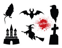 Set of halloween. Traditional attributes on white background Stock Photo