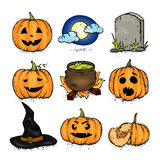 A set of Halloween attributes - pumpkins with different smiles, a tombstone, a witch`s hat, a pot of potions and a moon. A set of Halloween attributes Royalty Free Stock Photo