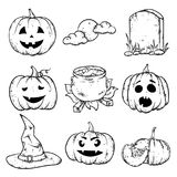 A set of Halloween attributes - pumpkins with different smiles, a tombstone, a witch`s hat, a pot of potions and a moon. A set of Halloween attributes Stock Images