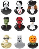 Set of halloween avatars. Nine people in clothes of halloween personages vector illustration