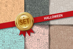 Set of Halloween backgrounds with doodle icons in Royalty Free Stock Images