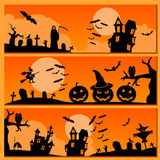 Set of Halloween banner. Holiday design. Royalty Free Stock Image