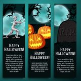 Set of halloween banners with mummy, jack o. Lantern pumpkins, R.I.P. tombstone symbols with moony background and scary tree branches Royalty Free Stock Photo