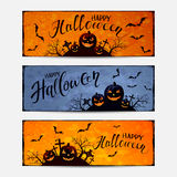 Set of Halloween banners with pumpkins Royalty Free Stock Image