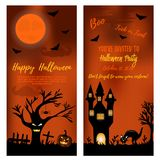 Set of Halloween banners with scare tree, castle cat and pumpkins. Set of Halloween banners with scare tree, castle, cat and pumpkins Royalty Free Stock Photography