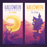 Set of Halloween banners with spooky haunted house Stock Photo