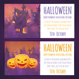 Set of Halloween banners with spooky haunted house Royalty Free Stock Photography