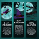 Set of halloween banners with witch, hat, bat. Set of halloween banners with witch, witch hat, bat symbols with moony background and scary tree branches Stock Images
