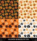 Set Halloween bezszwowi wzory Zdjęcia Royalty Free