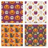 Set Halloween bezszwowi wzory ilustracja wektor