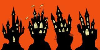 Set of halloween black castles Stock Photo