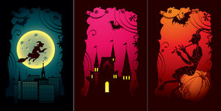 Set of halloween cards. With witch, halloween castle and pumpkin stock illustration