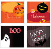 Set of halloween cards. A variety of stylish cards with halloween elements: Pumpkins, sweets, candy cones, ghost & bat Stock Illustration