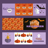 Set of halloween cards2. Background holiday design.Halloween design.Template   Halloween  cards. Halloween haunted castle, trees, bats, and a full moon. Vector Royalty Free Stock Photography