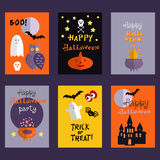 Set of halloween cards. Background holiday design.Halloween design.Template   Halloween  cards. Halloween haunted castle, trees,owl,pumpkin, bats, and a full Royalty Free Stock Photos
