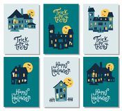 Set of 6 Halloween cards: party invitation, greeting, cards, fly Royalty Free Stock Photo