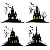 Set of halloween castle with bats black silhouette on the hill. Vector illustration. Stock Photos