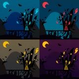 Set of halloween castles. Nice vector illustration Stock Photo