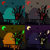 Set of halloween castles Royalty Free Stock Images
