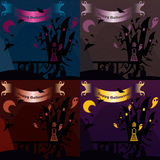 Set of halloween castles with text banners. Nice vector illustration Royalty Free Stock Image